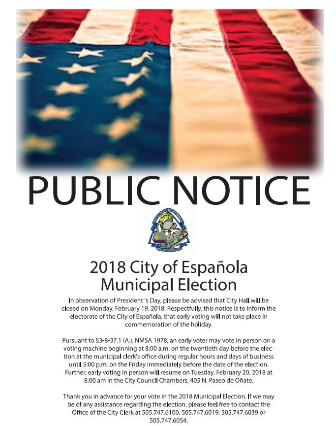 Public Notice Presidents Day