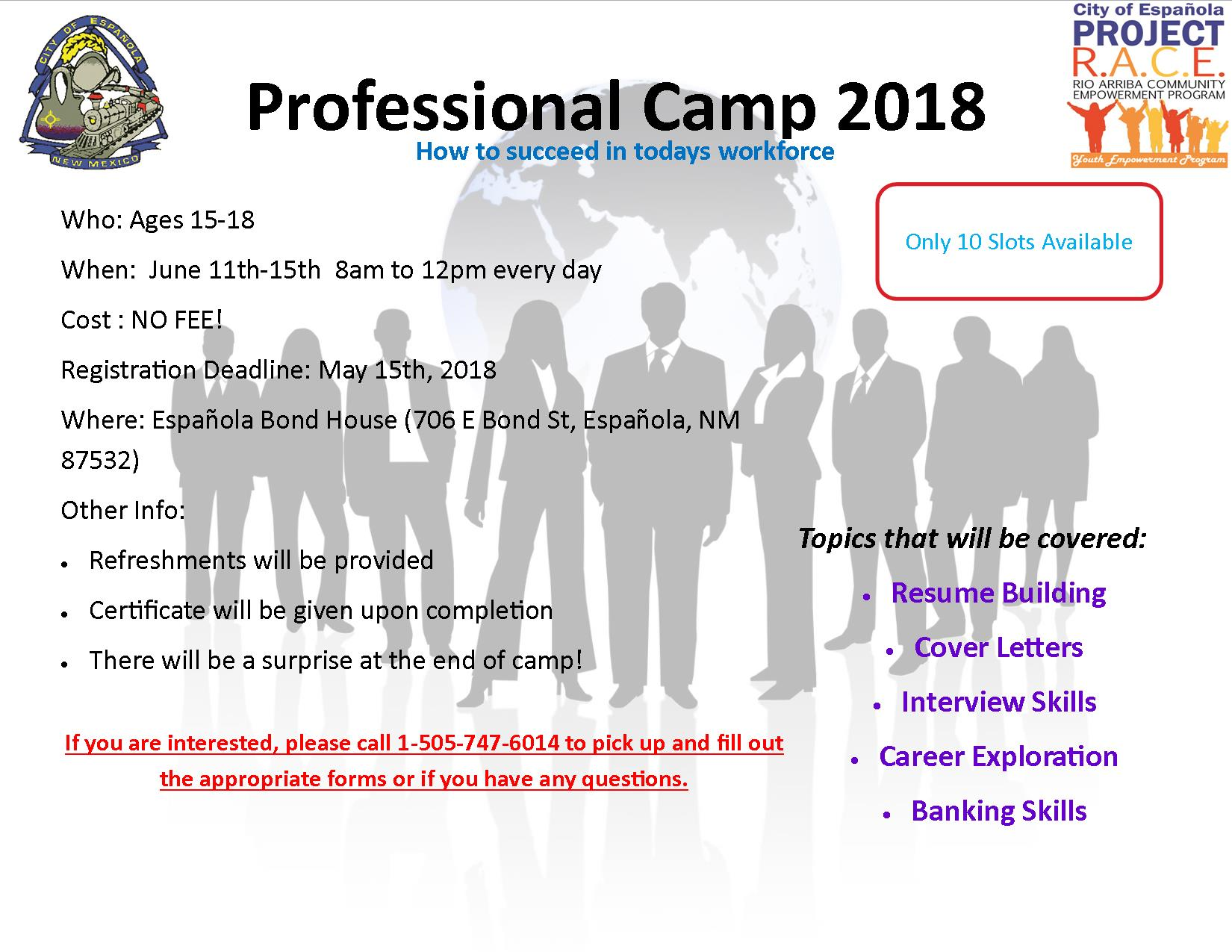 Professional Camp 2018 Flyer