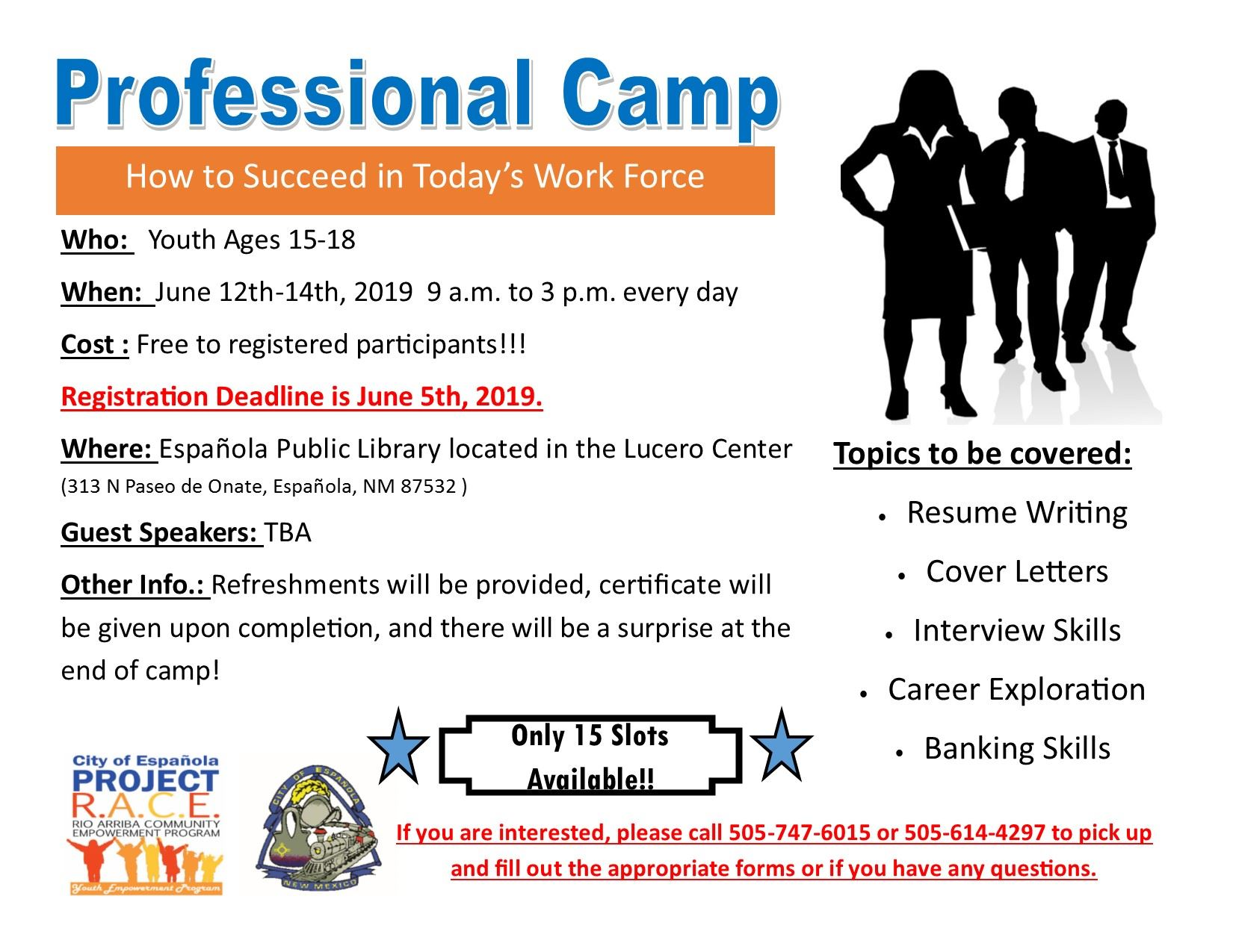 Professional Camp flyer