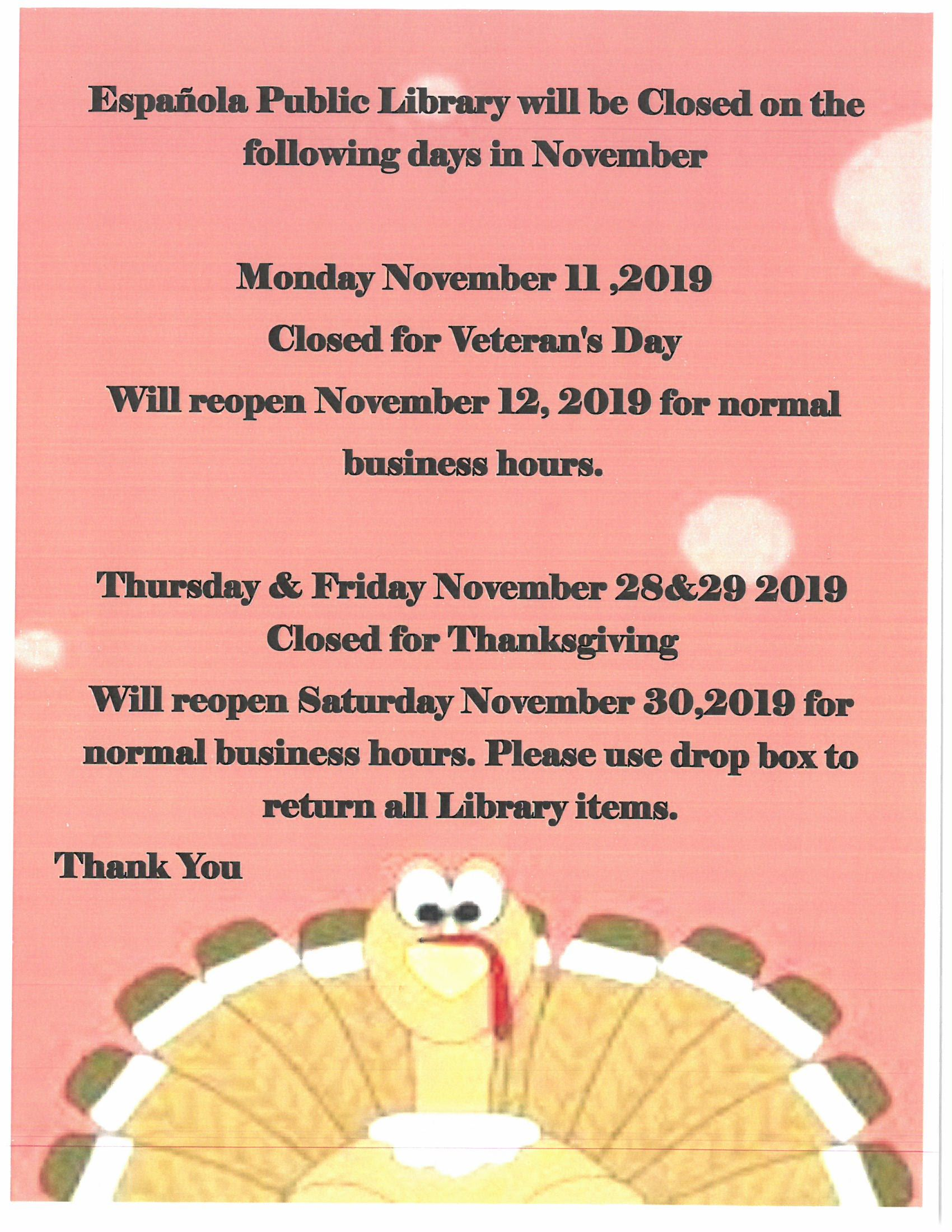 November Closed Days