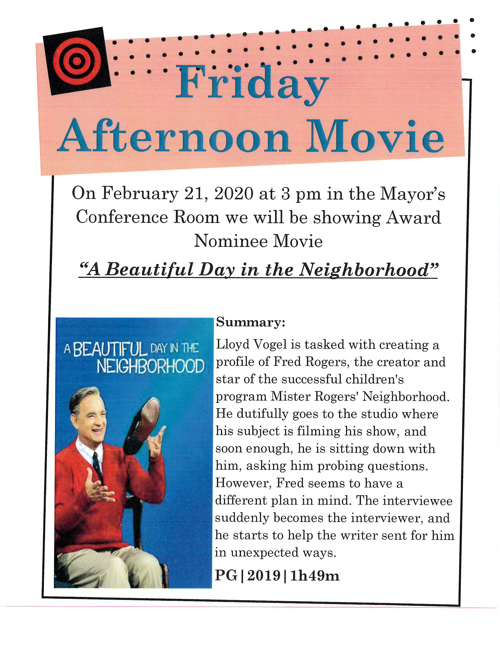 Friday Afternoon Movie 1.21.20