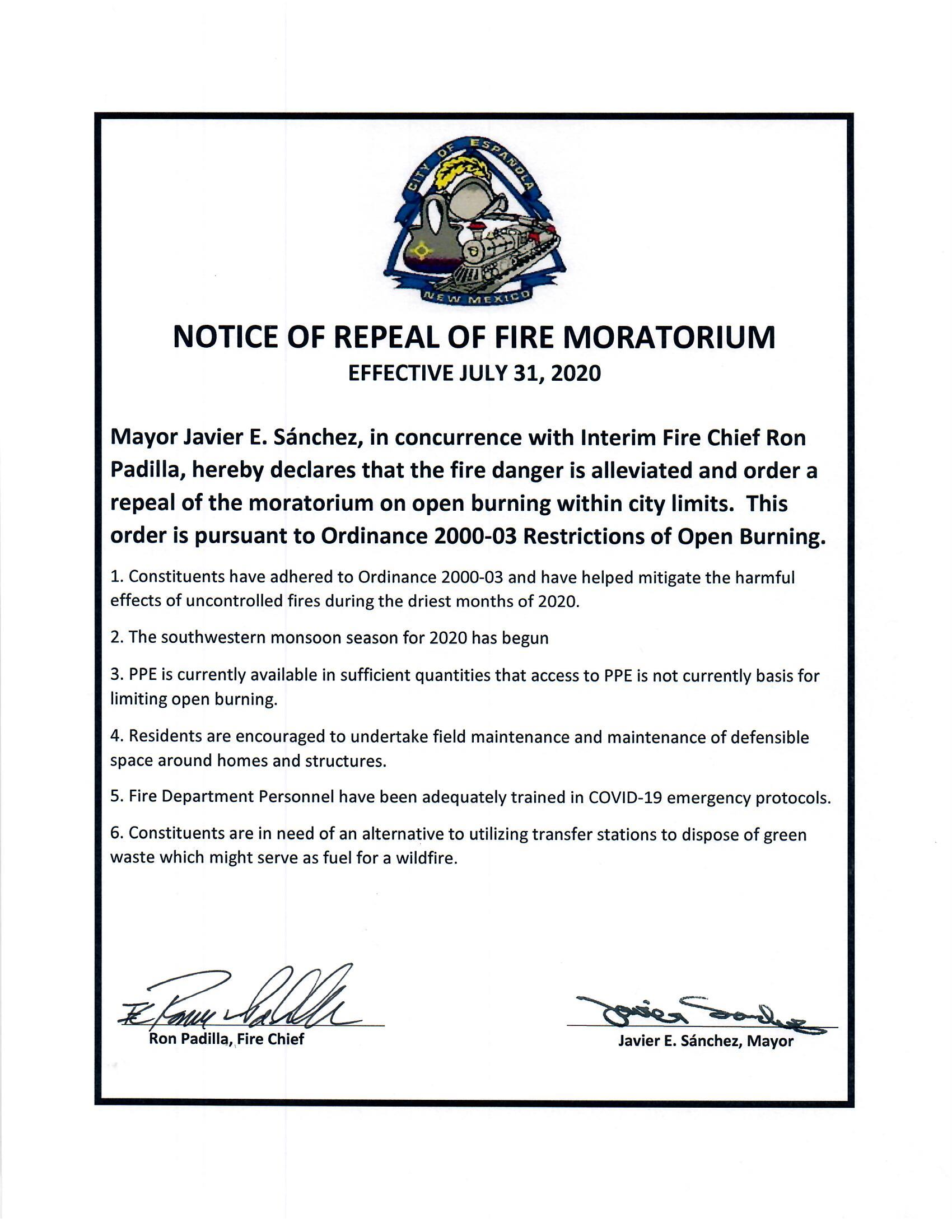 Repeal of Fire Moratorium, 2020